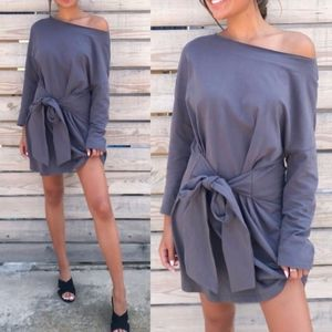 LINDSEY Long Sleeve Dress - CHARCOAL